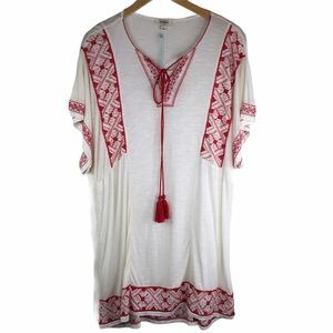 Umgee Embroidered Cover Up Tunic Dress Size Small